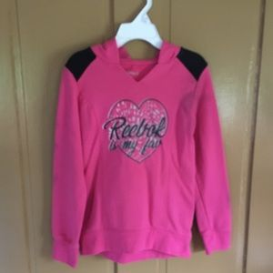 Toddler Girl Pink Reebok Hooded Sweatshirt.